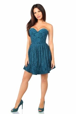 Daisy Corsets Top Drawer Steel Boned Dark Teal Lace Empire Waist Corset Dress