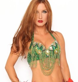 Western Fashion Beaded Bra Top Grn/Gold