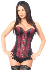 Daisy Corsets Top Drawer Wine/Black Steel Boned Corset w/Clasps & D-Rings