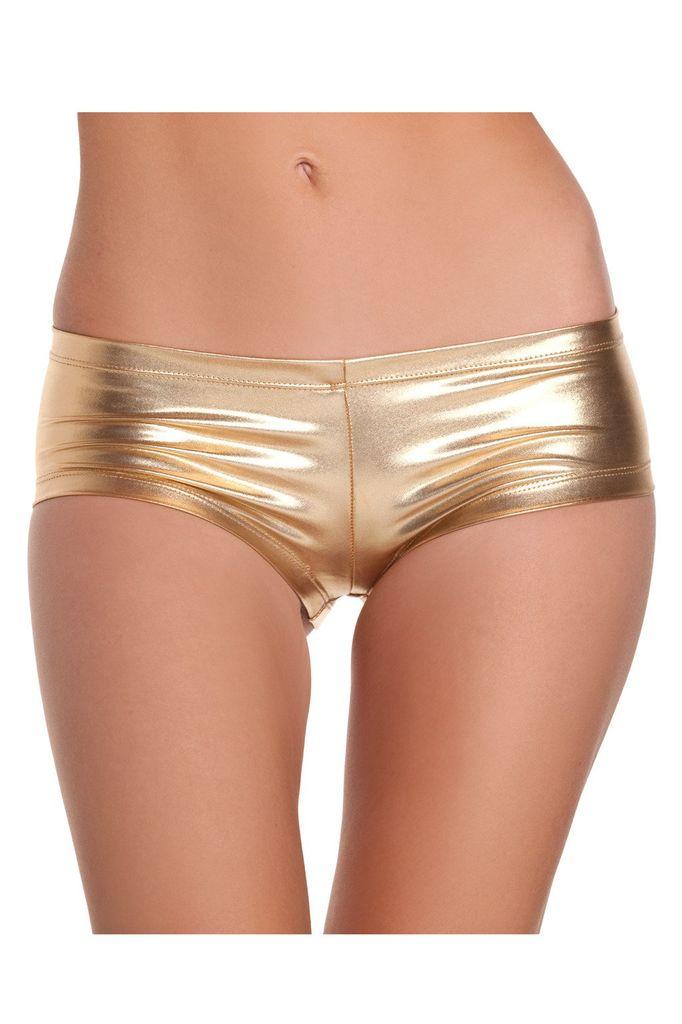 Be Wicked Gold Shiny Lycra Booty Shorts