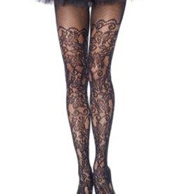 Leg Avenue Plus Size Floral vine net pantyhose PLUS SI BLACK