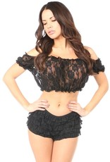 Daisy Corsets Black Sheer Lace Short Sleeve Peasent Top