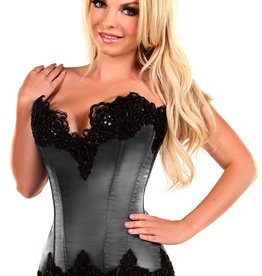 Daisy Corsets Top Drawer Gunmetal Satin Steel Boned Corset