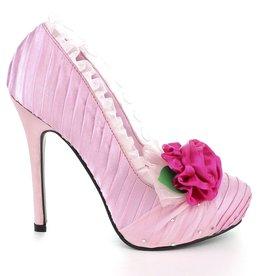 """Ellie Shoes Ellie 517 Penelope 5"""" satin Pump w detachable flower"""