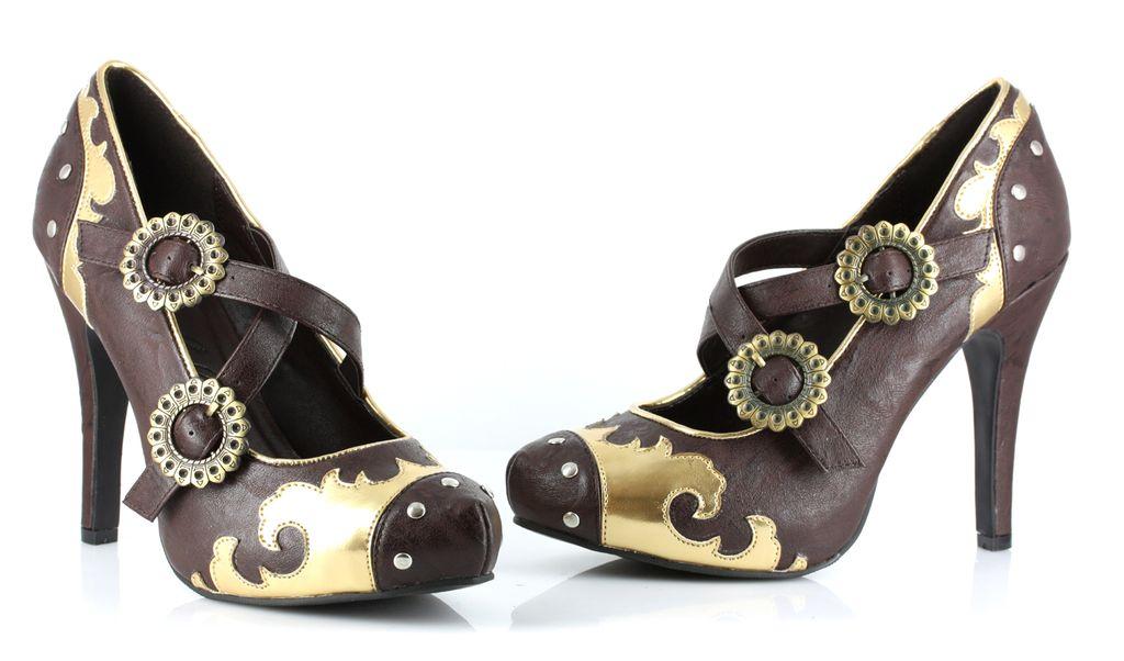 "Ellie Shoes 420-Steel 4"" Heel Steampunk Shoes"