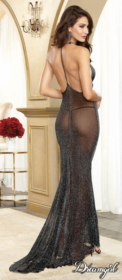 Dream Girl DreamGirl 10013 Blk/Slv Long Backless Gown