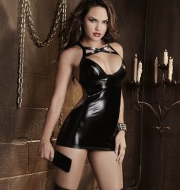 Dream Girl Dreamgirl 9737X Vinyl Chemise With Open Spanking Back Queen Size