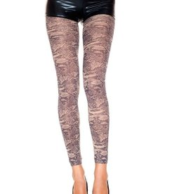 Music Legs Music Legs 35801 Opaque Snake Print Footless Tights