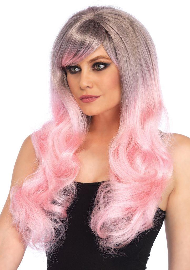 Leg Avenue Blended two-tone pastel long wavy wig pink/grey