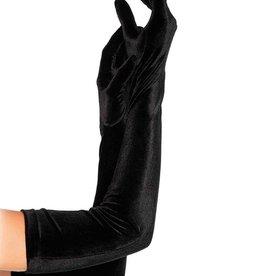 Leg Avenue Velvet opera length gloves O/S BLACK