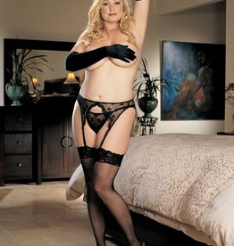 Shirley Of Hollywood H.O.T. X90026 Lace Top Thigh High Stockings Black
