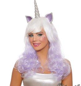 Dream Girl Unicorn Layered Wig With Glitter Horn & Ears
