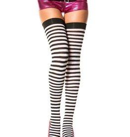 Music Legs Opaque Small Stripe Thigh High