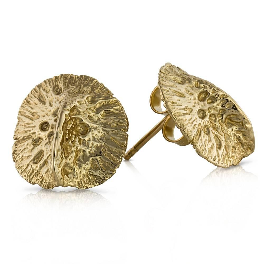 Alligator Scute Earrings - 14K Gold (Small)