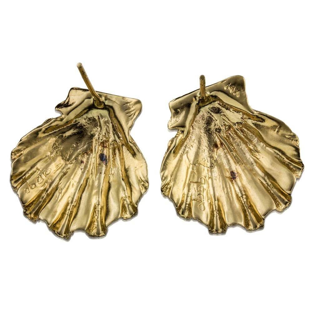 Scallop Shell Earrings - 14K Gold (Post)