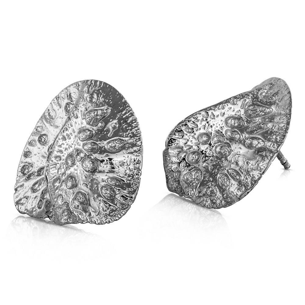 Alligator Scute Earrings - Sterling Silver (Large)