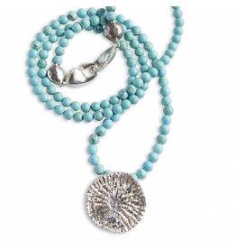 Dolphin Disc Pendant Necklace Silver (Opera Length)