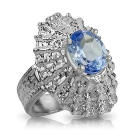 Limpet Shell Ring - Sterling Silver (Sapphire Spinel)