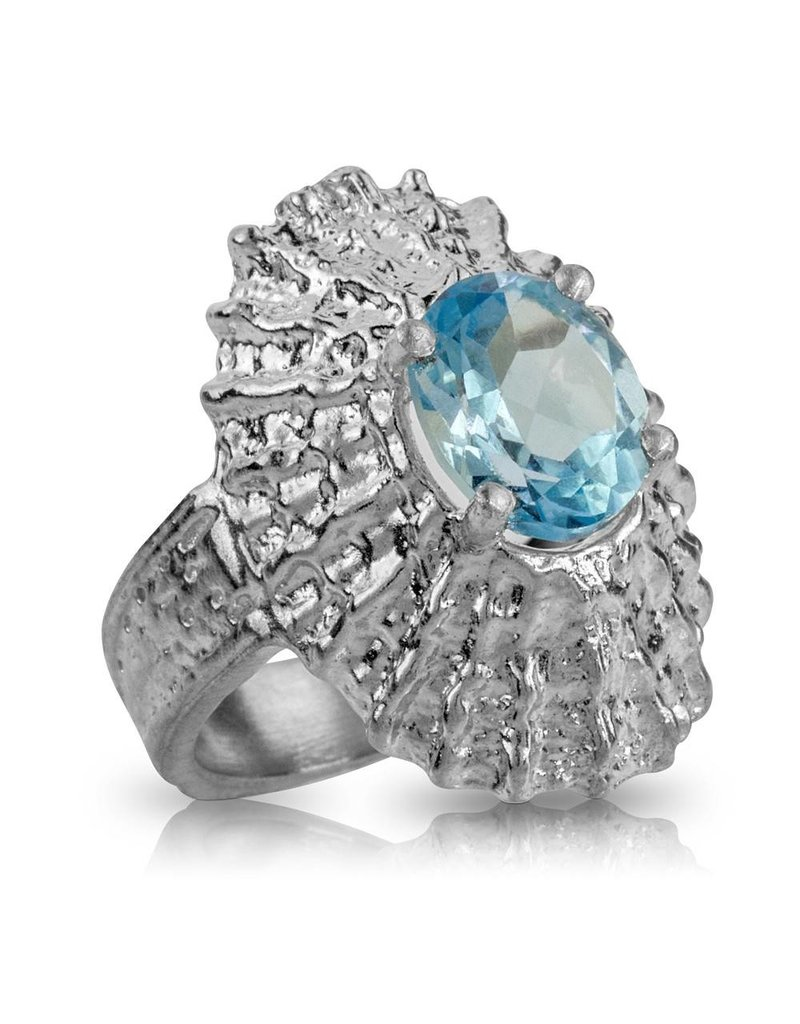 Limpet Shell Ring (Sky Blue Topaz)