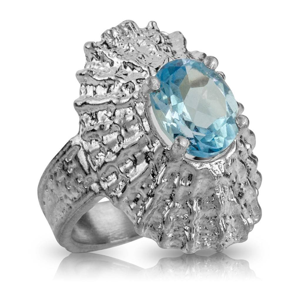Limpet Shell Ring - Sterling Silver (Sky Blue Topaz)