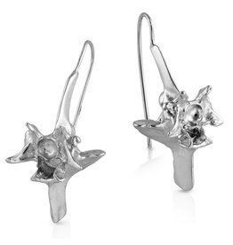 Rattlesnake Vertebrae Earrings - Sterling Silver (Large)
