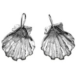 Scallop Shell Earrings - Sterling Silver (Wire)