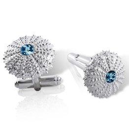 Sea Urchin Cufflinks - Sterling Silver (London Blue Topaz)