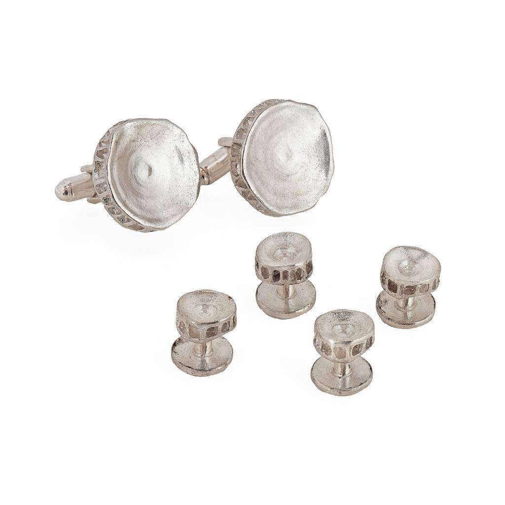 Shark Vertebrae Shirt Studs - Sterling Silver
