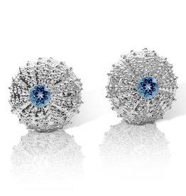 Sea Urchin Earrings -  Sterling Silver - Large (London Blue Topaz)