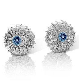 Sea Urchin Earrings -  Sterling Silver - Large (London Blue Topaz)