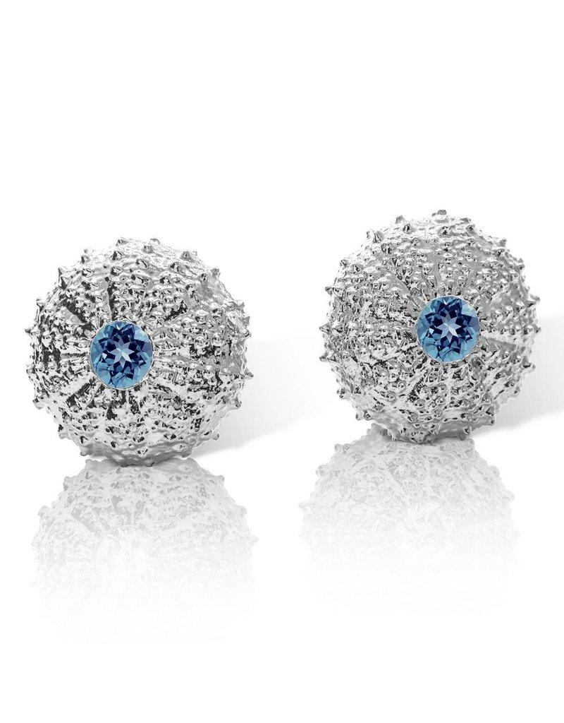 Sea Urchin Earrings - Large Single (London Blue Topaz)