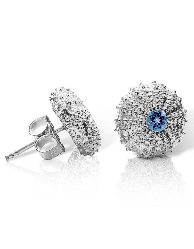 Sea Urchin Earrings - Medium Single (London Blue Topaz)