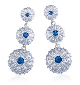 Triple Sea Urchin Earrings - Sterling Silver (London Blue Topaz)