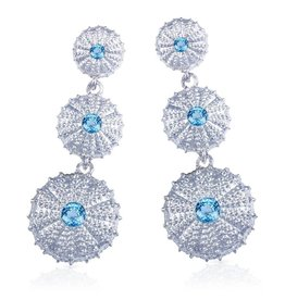 Triple Sea Urchin Earrings - Sterling Silver (Sky Blue Topaz)