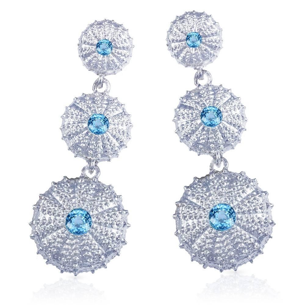 Triple Sea Urchin Earrings - Sterling Silver (Sky Blue Topaz)