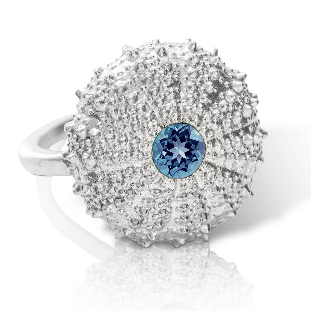Sea Urchin Ring with London Blue Topaz