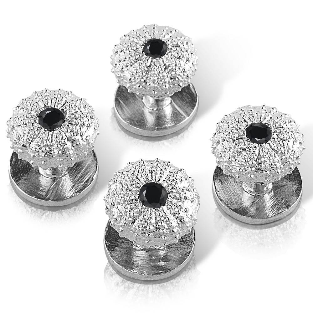 Sea Urchin Shirt Studs - Sterling Silver (Black Onyx)