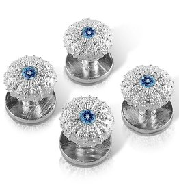 Sea Urchin Shirt Studs - Sterling Silver (London Blue Topaz)