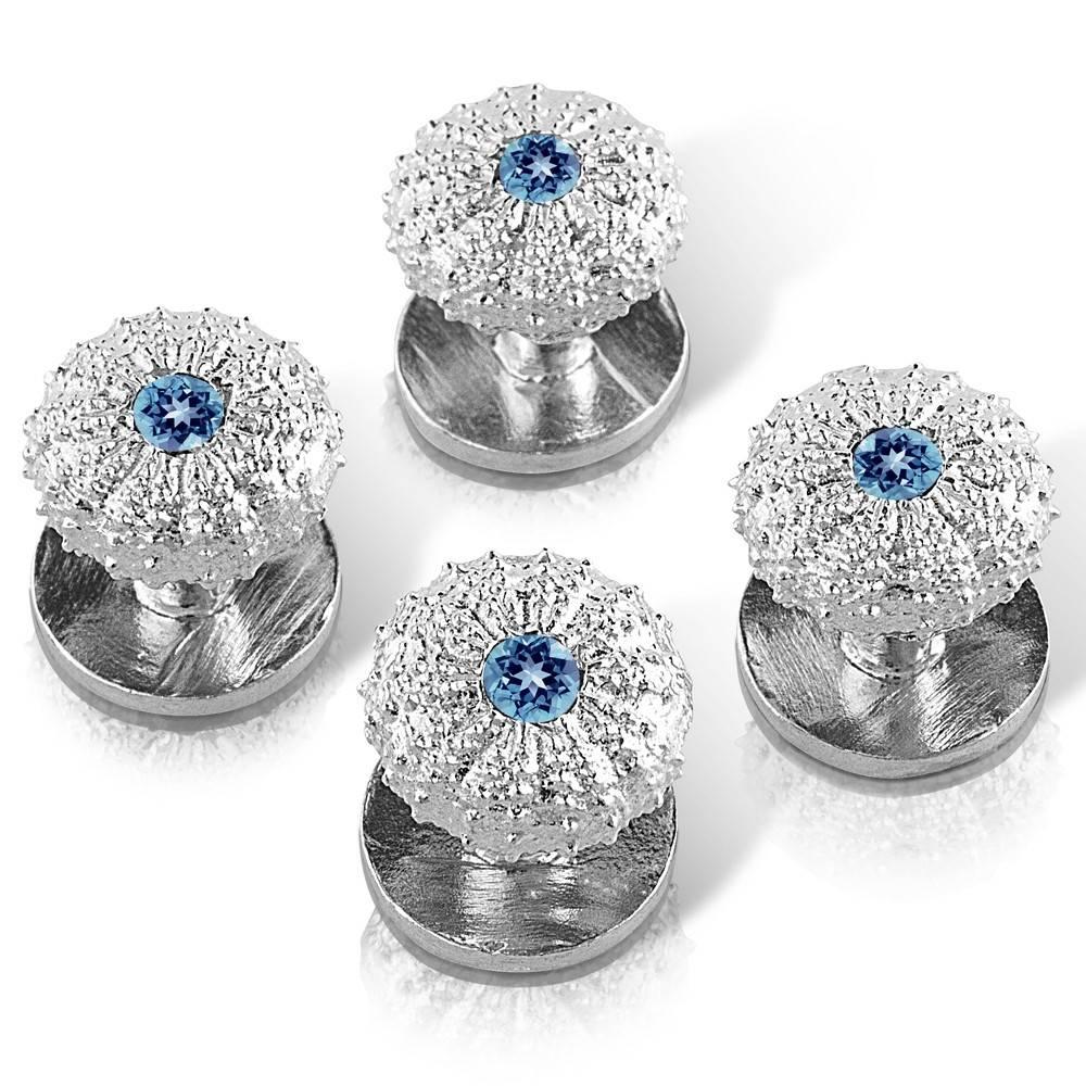 Sea Urchin Shirt Studs - Sterling Silver (London Blue Topaz)
