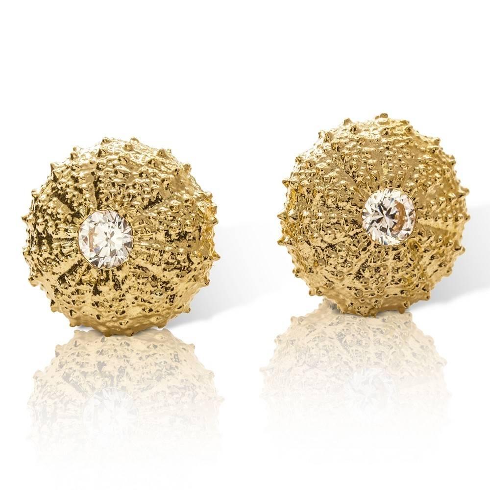 Sea Urchin Earrings - Vermeil - Large (CZ)
