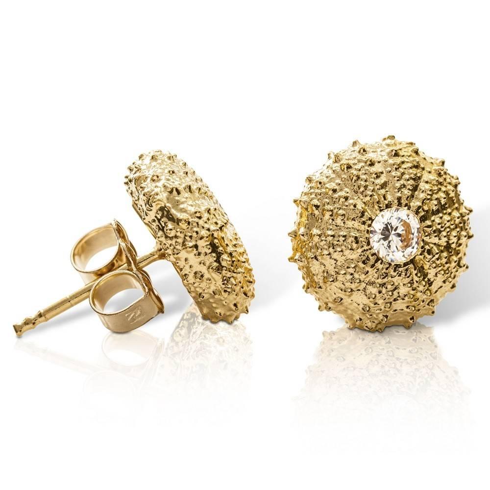Sea Urchin Earrings - Medium Single (Clear CZ)