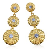 Triple Sea Urchin Earrings - Vermeil (Clear CZ)