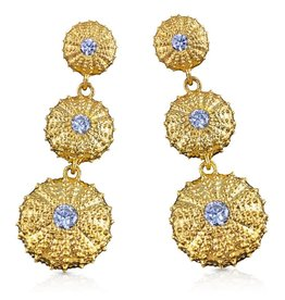 Triple Sea Urchin Earrings - Vermeil (Clear CZ)