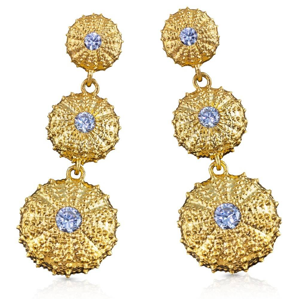 Sea Urchin Earrings - Triple (Clear CZ)