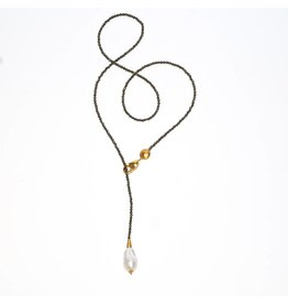 Baroque Pearl Tear Drop Adjustable Necklace - Vermeil