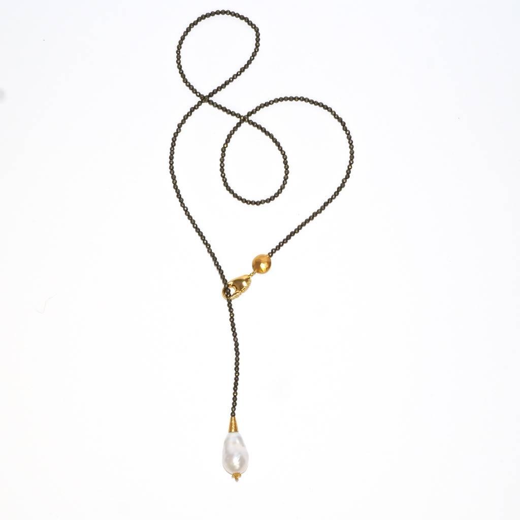 Baroque Pearl Tear Drop Adjustable Necklace - Vermeil