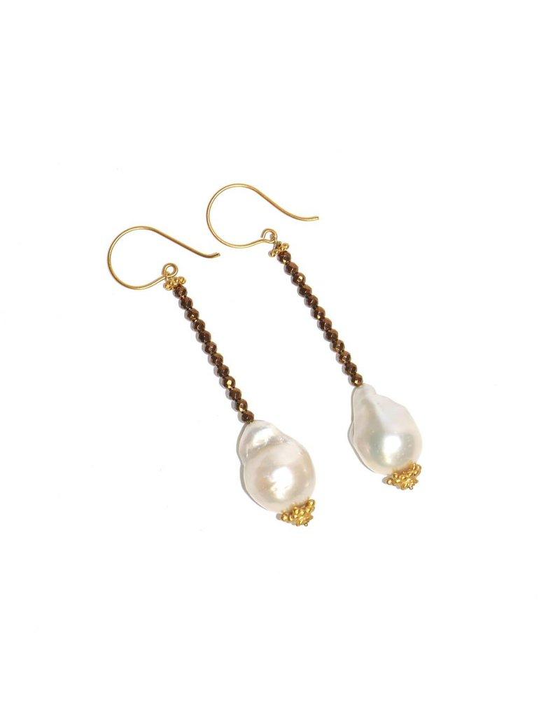 Baroque Pearl Drop Earrings in Vermeil
