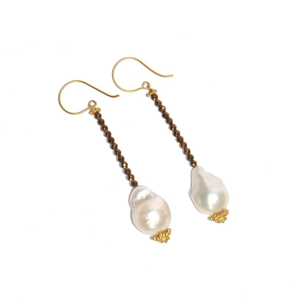 Baroque Pearl Beaded Drop Earrings Vermeil Post Wire