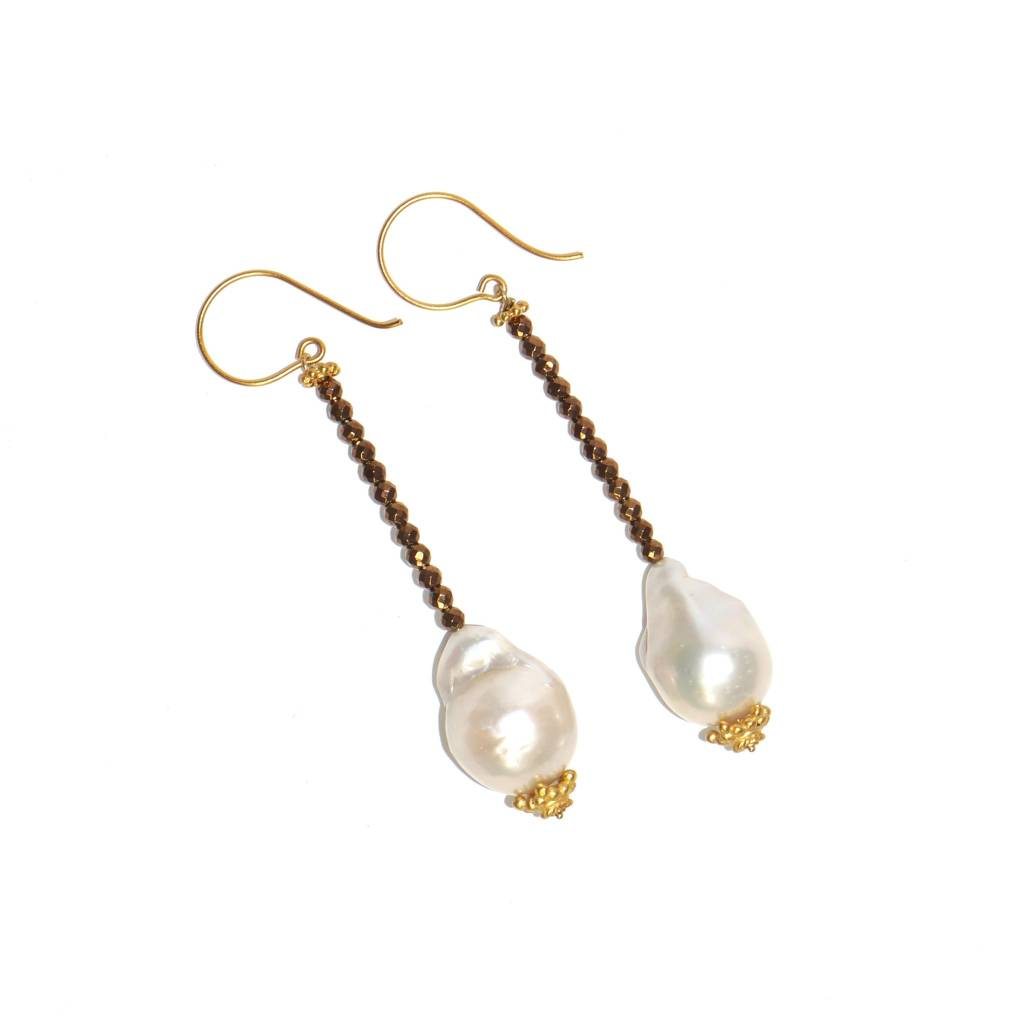 Baroque Pearl Drop Earrings in Vermeil