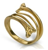 Rattlesnake Double Rib Ring - 14K Gold